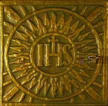 "IHS = the first three letters in the Greek spelling of ""Jesus"""