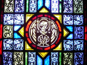 Stained Glass Window of Evangelist's Symbol for John - St. Ignatius Parish, San Francisco