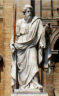 Statue of St. Paul (by Adamo Tadolini, 1840) in front of St. Peter's Basilica, Rome