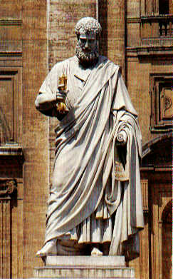 Statue of St. Peter (by Giuseppe de Fabris, 1840) in front of St. Peter's Basilica, Rome